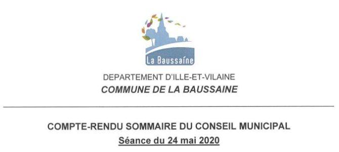 Compte rendu du conseil municipal       du 24 mai 2020
